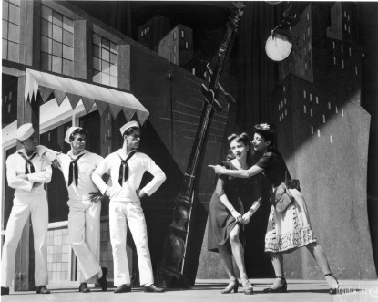 Jerome Robbins, John Kriza, Harold Lang, Janet Reed and Muriel Bentley in Fancy Free (Original Cast). Photo: Maurice Seymour (1944).